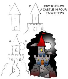 dessiner un château Draw castle Drawing Projects, Drawing Lessons, Drawing Techniques, Art Lessons, Art Projects, Doodle Drawings, Cartoon Drawings, Easy Drawings, Doodle Art