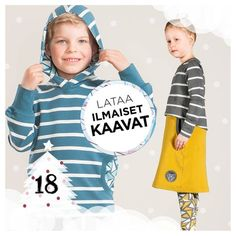 NOSH.FI - Iloista Joulua! -sivulla joulukuussa päivittäin uusia tuotteita! Nyt voit ladata lasten HIDE hupparin ja mekon kaavat ilmaiseksi! Lataa heti! - Download free sewing patterns for kids! http://en.nosh.fi/category/612/sewing-patterns-children