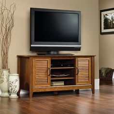 """Sauder Milled Cherry Panel TV Stand for TVs up to 47""""...use this idea for a vintage tv look"""