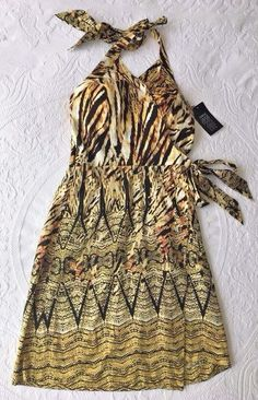 ETCETERA Halter Faux Wrap Dress Tribal Print Size 4 ($325 MSRP) #Etcetera #WrapDress