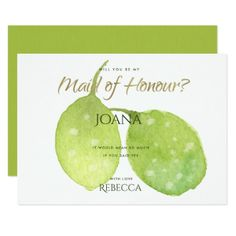 #TROPICAL GREEN WATERCOLOUR LEAF Maid of Honour Card - #barn #wedding #rustic #invitation #cards #party #ideas