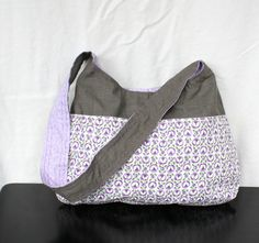The Millie Bag by Nstarstudio - Hobo Shoulder Sling Bag- Recycled Fabrics in Purple Floral Print and Gray  Cotton Blend. $35.00, via Etsy.