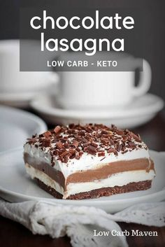 Chocolate lasagna, also called chocolate lush, is a delicious layered chocolate dessert. This low carb chocolate dessert recipe is as delicious as the original and is sugar-free!