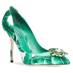 """Dolce&Gabbana Banana Leaf Pointy Toe Pump, 4"""" heel ($975) ❤ liked on Polyvore featuring shoes, pumps, green, scarpe, pointy toe high heel pumps, flower pumps, high heel pumps, green pumps and flower shoes"""