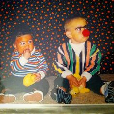 Halloween costume idea for babies, toddler and brothers, bert and ernie