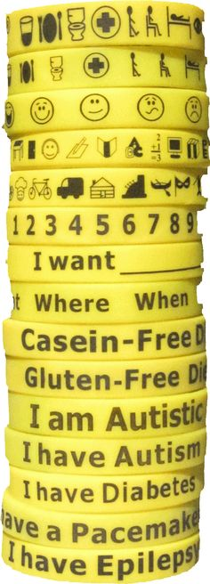 Communication bracelets for non-verbal folks.  From Carly Fleischman.