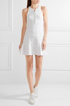 L'Etoile Sport - Mesh-paneled Stretch Pointelle-knit Tennis Dress - White