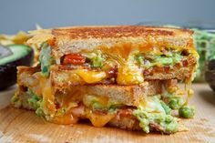 Something I think would make my husband smile! :)  Bacon Guacamole Grilled Cheese  Sandwiches! ~Aileen (http://www.closetcooking.com/2012/01/bacon-guacamole-grilled-cheese-sandwich.html) Even shares homemade guacamole in the link!