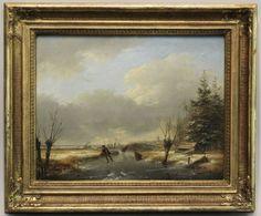 Andreas Schelfhout 1787 Den Haag - 1870 ebenda. Schlittschuhläufer in winterlicher Landschaft. Öl