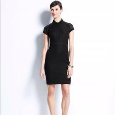 ae2277b635ee Ann Taylor Black Sheer Detail Shirt Dress Sz 6 Black cotton pique collared  shirt dress with black semi-sheer panel at shoulders. Hits at waist with  hidden ...