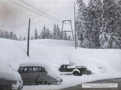 The Pebble Creek Ski Area was originally called the Skyline Ski Area. This photo was taken there in the 1940s. View more old photos of the area at http://yesteryear.idahostatejournal.com #pebblecreekskiarea #idahohistory #photo #idaho #skihill #coololdphoto