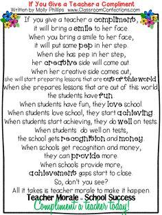 If You Give a Teacher a Compliment…. Teacher morale = teacher success Princip… If You Give a Teacher a Compliment…. Teacher morale = teacher success Principal's take note! Teacher Blogs, Teacher Humor, Teacher Hacks, Teacher Gifts, Teacher Prayer, Teacher Poems, Head Teacher, Teacher Sayings, Staff Gifts