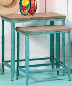Look what I found on #zulily! Light Blue Vintage Nesting Table Set by Evergreen #zulilyfinds