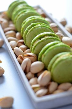 Pistachio Macarons with Pistachio Butter Cream - Pistachio macarons filled with pistachio butter cream. Pistachio macarons filled with pistachio but - Peanut Butter Dessert Recipes, Chocolate Cookie Recipes, Peanut Butter Cookie Recipe, Easy Cookie Recipes, Pistachio Butter, Pistachio Macarons, Easy Chicken Pot Pie, Easy Chicken Recipes, Cake Mix Cookies