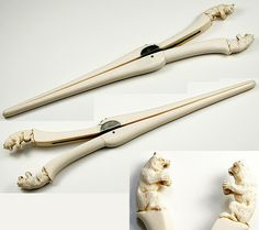Antique Victorian Carved Ivory Wolf/Bear Glove Stretcher - Black Forest Germany Carving