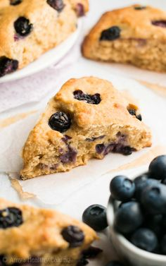 The Ultimate Healthy Blueberry Scones -- so easy, supremely tender & nearly 5g of protein! Ready in just 30 minutes! | easy blueberry scones recipe | best blueberry scones | greek yogurt blueberry scones | low calorie healthy scones recipe