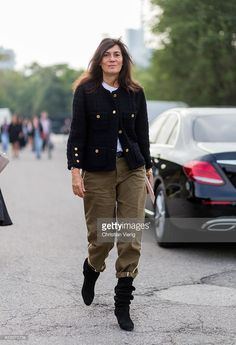 Emmanuelle Alt outside Diesel during Milan Fashion Week Spring/Summer 2017 on September 23, 2016 in Milan, Italy.