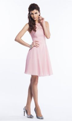 Chiffon A Line Bridesmaid Dress with Lace Neckline, short a-line skirt with pleating. Peach Bridesmaid Dresses, Bridesmaids, Wedding Dresses, Black Friday Dresses, Jasmine Dress, Cocktail Dresses Online, Cocktail Wear, Flowing Dresses, Short Mini Dress