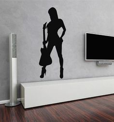 ik2601 Wall Decal Sticker sexy girl with rock guitar heavy lounge music store