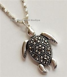 Silver Crystal Sea Turtle Necklace Marcasite Crystals Pendant Sea Life USASeller #SouthMiamiBeachBoutique #Pendant