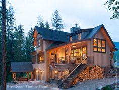 Rocky Mtn Allure Timber Frame Covered Deck and Spa at Dusk - Custom Design - Riverbend Timber Framing