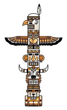 Totem by Meriç Karabulut, via Behance Totem Pole Drawing, Totem Pole Tattoo, Totem Pole Art, Tiki Totem, Arte Tribal, Tribal Art, Arte Haida, Art Indien, Native American Symbols