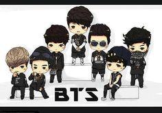 BTS this is SO so accurate and cute! Bts Chibi, Bts Army Logo, Popular Bands, Cartoon Photo, Kawaii, Fan Art, Bts Fans, I Love Bts, Foto Bts