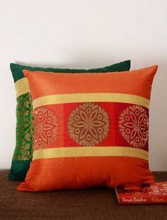 Red-Orange Brocade Center Metallic Stripes Cushion Cover