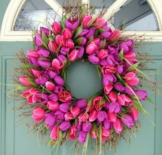 Spring Wreath: Pink and purple tulip wreath.