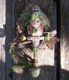 pocket altar spirit owl  mixed media by dancingbeararts on Etsy, $40.00