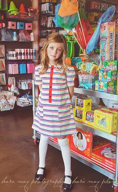 1970 Style Chevron multicolored dress,children clothing. $42.00, via Etsy.