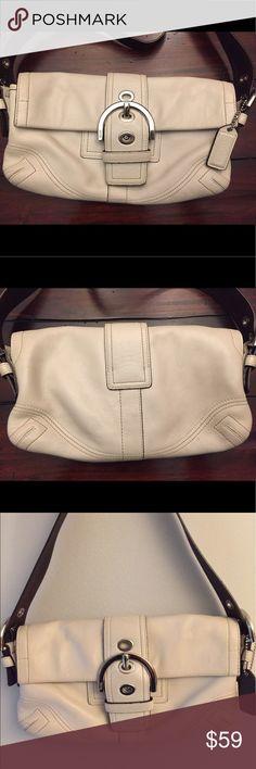 Cream Coach Purse Super soft cream leather Coach purse. Great condition. Coach Bags Shoulder Bags