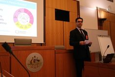 Stuart presenting at the Department House of Representatives in Canberra