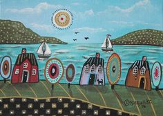 Ocean Dream ORIGINAL Canvas Panel PAINTING Folk Art Abstract 5 x 7 Karla Gerard #FolkArtAbstractPrimitive
