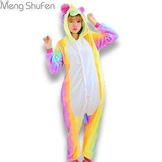 Pink Unicorn Pajamas Sets Flannel Animal Pajamas Winter Nightie Stitch  unicornio Sleepwear for Women Men Adults 07cbb3d8a