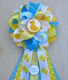 Baby Shower Corsage  Rubber Duck Ducky  for by AddisonsBowtique