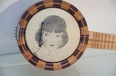 Vintage Birds Eye Maple BANJO UKULELE banjolele Uke Regal with Flapper Art pre war