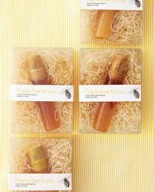 Cute way to do honey wedding favors...could skip the plastic and use something more natural instead...