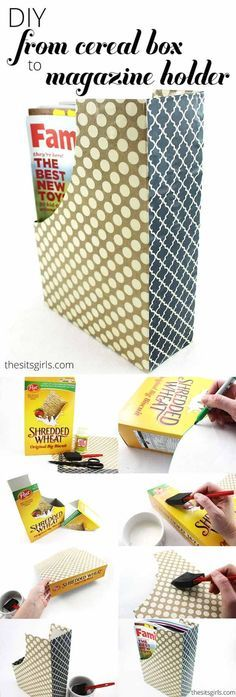 Cereal Box Crafts DIY projects craft ideas and instructions for interior decoration with videos - Upcycled Crafts Diy Craft Projects, Diy Crafts For Kids, Kids Diy, Decor Crafts, Fun Crafts, Upcycled Crafts, Diy Storage, Diy Organization, Office Storage