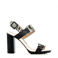 French Connection Womens Black & White Toma Leather High Heels