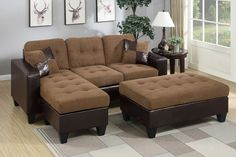Sectional Sofa Set F6929 Align your living space with versatility and class with a multi-unit sofa sectional that lets you create the living room you and your family's lifestyle. The collection of contemporary plush units feature accent tufting and pillows. Available in espresso (bonded leather), chocolate (microfiber and faux leather trim), and saddle (microfiber and faux leather trim). Materials: saddle padded suede Plywood + solid pine + plastic leg?ÿ Foam, fiber battings Dimensions…