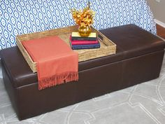 Stylish Storage Bench - Sabrina Soto's Best Designs on HGTV. End-of-bed seating/storage. Good for TV seating. 7-20-13.
