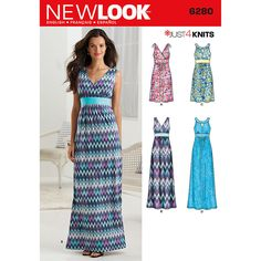 New Look Misses'' Knit Dress in Two Lengths with Bodice Variations - Size: A (8-10-12-14-16-18-20) - Misses Patterns