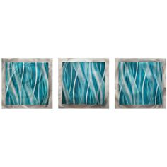 "Set of 3 Turquoise Essence 38"" Wide Metal Wall Art"