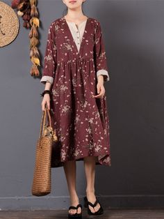 Floral Printed Two Layers Long Sleeve Vintage Dresses Online - NewChic Mobile