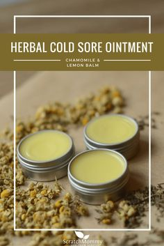 Come grab our natural solution to help with cold sores, DIY herbal cold sore ointment recipe (featuring chamomile & lemon balm).