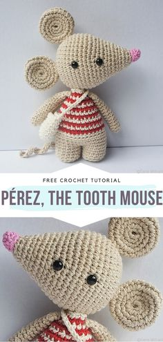 Pérez, the Tooth Mouse Free Crochet Pattern Crochet For Kids, Free Crochet, Knit Crochet, Crochet Ideas, Crochet Mouse, Crochet Dolls, Crocheted Toys, Tooth Mouse, Crochet Shoulder Bags
