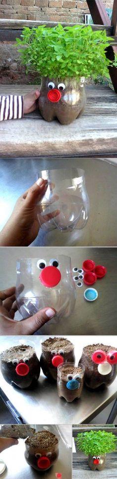 Kids Chia Pet Garden using Plastic Soda Bottles!