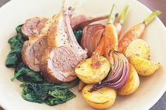 Roast vegetables with lamb