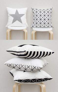 Double Sided Pillow Cover Big star pillow Case Gray by gridastudio